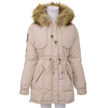 Stylish Hooded Long Sleeves Detachable Fur Collar Drawstring Epaulet Design Women's Cotton Coat