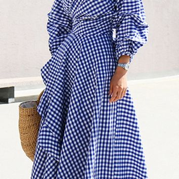 A| Chicloth Women's Casual V Neck Lantern Sleeve Plaid Miid Irregular Dress