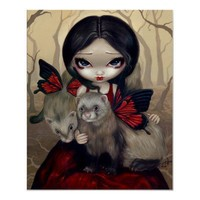 Red Butterfly Ferrets gothic fairy Art Print from Zazzle.com