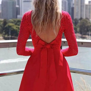 Red Heart Bowknot Backless Lace Dress