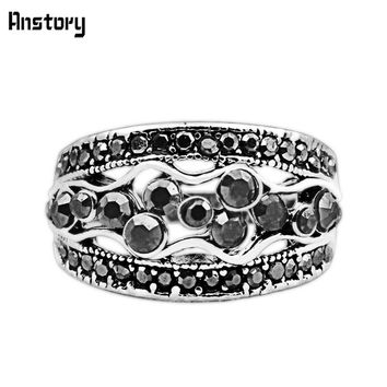 Cluster Flower Plant Rhinestone Rings For Women Vintage Silver Plated Fashion Jewelry