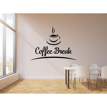 Vinyl Wall Decal Coffee Break Room Cafe and Drink Cup Stickers Mural (g1784)