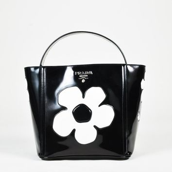 "Prada Black ""Spazzolato"" Patent Leather Flower Satchel Bag"