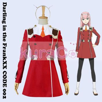[STOCK]+Wig Anime Darling in the Franxx CODE 002 figure ZERO TWO Uniform Halloween Cosplay costumes for women NEW 2018 free ship