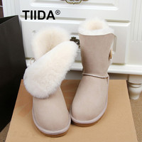 TIIDA Free shipping Top Quality Women's Genuine sheepskin leather Snow Boots 100% natural fur snow boots Warm Winter Boots