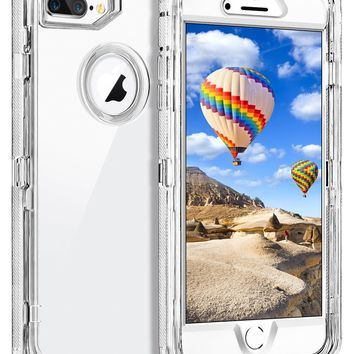 """iPhone 8 Plus Case, iPhone 7 Plus Case, Coolden Clear Phone Case Hybrid Protective Dual Layer Shockproof Case with Hard PC Bumper + Soft TPU Back for 5.5"""" iPhone 6/6S/7/8 Plus –Transparent"""