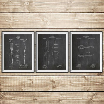 Dining Room Wall Art, Patent Print Group, Knife Wall Art, Fork Wall Decor, Fork Spoon Knife, Fork Wall Art,Dinner Wall Art, INSTANT DOWNLOAD