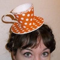 Teacup Fascinator Orange and White by RoyalHouseOfWhimsy on Etsy