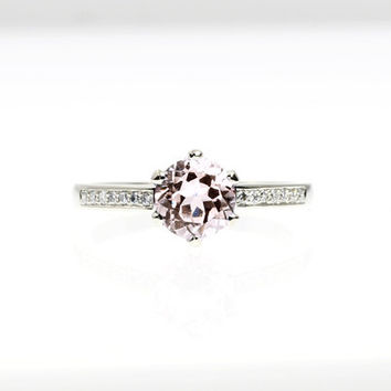 Morganite engagement ring, diamond ring, white gold, yellow gold, unique, solitaire, pink, diamond, salmon morganite, vintage style, thin