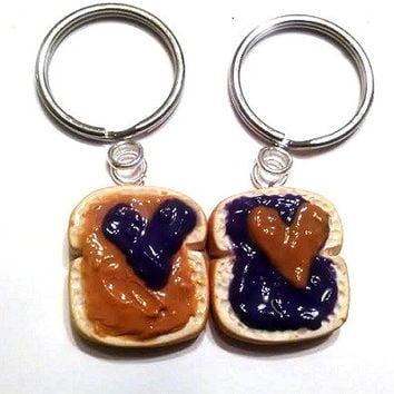 Peanut Butter and Grape Jelly Hearts Key Chains, Polymer Clay, Miniature Food, BFF