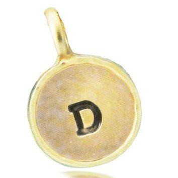 Lucky Feather Letter Coin Charm  Matte Gold Plated Initial D