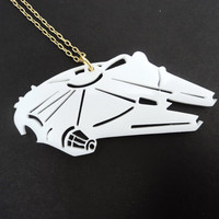 Millenium Falcon Laser cut acrylic pendant star wars necklace Alliance Space Ship