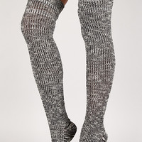 Marl Knit Thigh High Socks