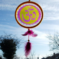 5 inches OM Symbol Suncatcher Mobile - AUM Sun Catcher Meditation Yoga Mandala - Wall Hanging Home Decor - Glass Painted Window Decor