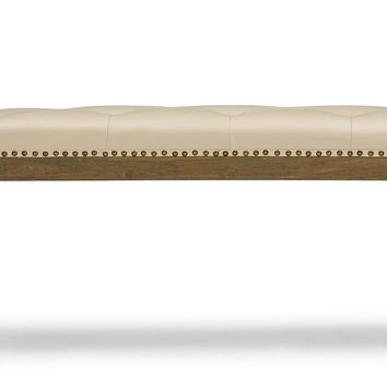 Baxton Studio  Damien Cream Faux Leather Bench in Natural Finishing  Set of 1