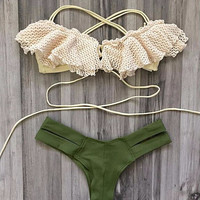 Francesca Ruffle Top Green Strappy Brazilian Cheeky Bikini Set