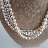 White Swarovsi Pearl Multi Strand Necklace With Vermeil Clasp