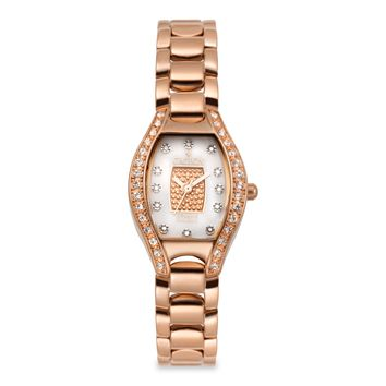 Croton Womens Stainless steel Rosetone Crystal Bezel Watch