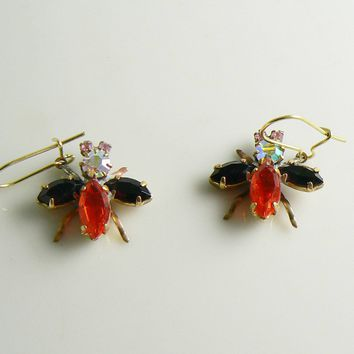 Czech Glass Rhinestone Fly Earrings, Red and Black