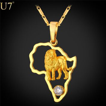 Lion Pendant Necklace for Men Hollow Crystal Gold Color African Jewelry Women African Map Necklaces P783