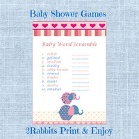 Pink Elephant Themed Girl Baby Shower  - Baby Word Scramble - Printable Baby Shower Game- Instant Digital Printable- Pink and Blue Elephants