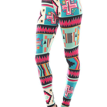 Women's Regular Big Aztec Shape Pattern Print Leggings - Sky Fuchsia Black