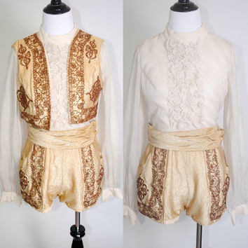 Vintage 1960s Gold Bronze Glitter Beaded 3 Piece BULLFIGHTER romper ruffled shirt one piece playsuit vest and Sash Belt Costume Outfit