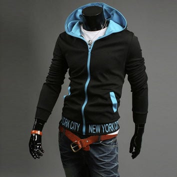 Men Hoodies Alphabet Print Hats Men's Fashion Winter Jacket [6528650627]