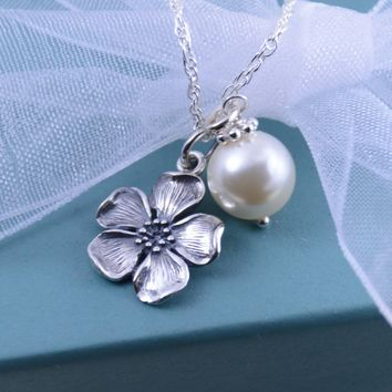 Cherry Blossom Charm Necklace - Flower Girl Gift