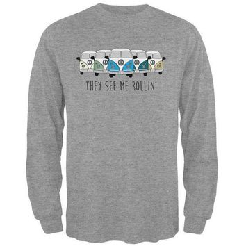 PEAPGQ9 Hippie Van They See Me Rollin' Bus Camper Mens Long Sleeve T Shirt