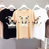 Chanel print hot women T-shirt tee blouse tops