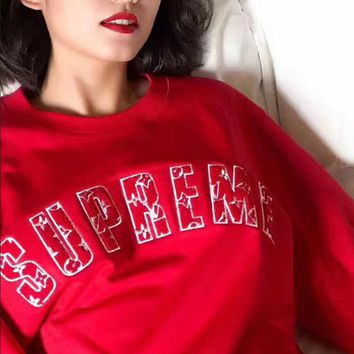 Supreme Fashion Women Loose Men Embroidering Round Collar Long Sleeve Top Velvet Couples Sweater Sweatshirt