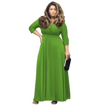 Women Elegant Evening Party Long Dress Sexy V Neck Half Sleeve Fit and Flare Solid Elastic Plus Size Casual Maxi Dresses 2018