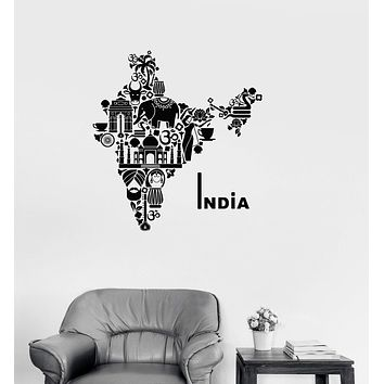 Vinyl Decal India Map Hindu Hinduism Elephant Symbols Decor Wall Stickers Unique Gift (ig2722)