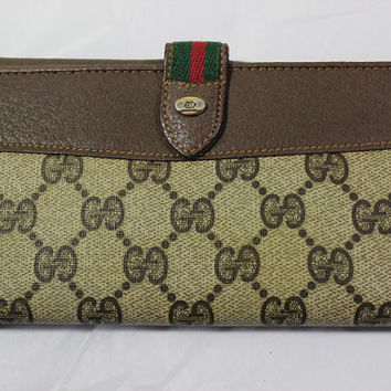 Vintage GUCCI Classic 3-folds Wallet Check Book Purse Clutch Bag Italy