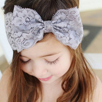 Lovely Newborn Baby Girls Lace Bow Knot Elasticity Headband Children Girls Baby Hair Accessories W141