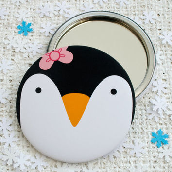 Penguin Pocket Mirror or Magnet. Stocking filler. Secret santa. Christmas Gift.
