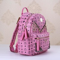 QIYIF Purple/pink Studded MCM backpack