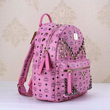 AUGUAU Purple/pink Studded MCM backpack