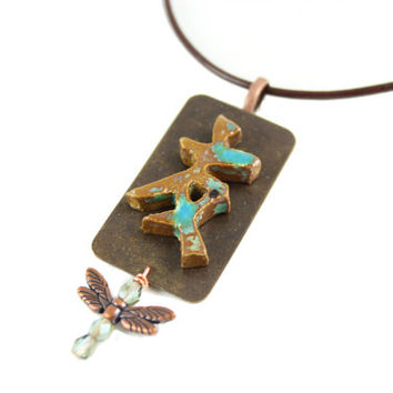 One-of-a-Kind Friendship Symbol Necklace - Japanese Friendship Jewelry - Ceramic Pendant - Dragonfly Necklace