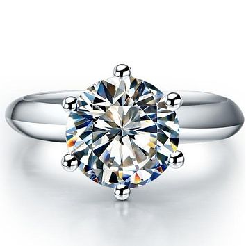 14K White Gold 3CT Round Cut Moissanite Diamond Solitaire Engagement Ring