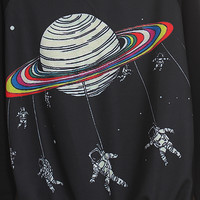 Black Long Sleeve Saturn Astronaut Print Sweatshirt -SheIn