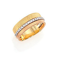 Marco Bicego - Goa Diamond, 18K White, Rose & Yellow Gold Band Ring - Saks Fifth Avenue Mobile