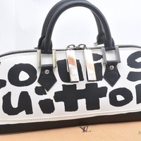 Louis Vuitton Stephen Sprouse Graffiti Alma Horizontal HandBag Black White 37084