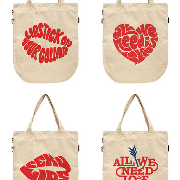Women Love Typography Art Printed Canvas Tote Shoulder Bags WAS_39