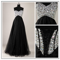 Stunning Black  Aline Sweetheart Sweep Train Prom by SpcialDresses