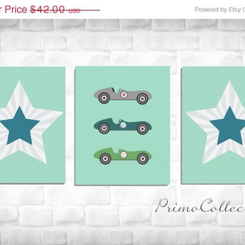 Racecars Nursery Artwork Prints / set of 3 / three 8x10 inch trio / baby boy's room decor / aqua and teal / star prints / retro cars