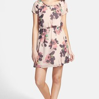 Junior Women's Frenchi Floral Print Woven Dress,