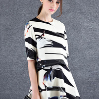 Beige Crowned Crane Pattern Print Short Sleeve A-line Mini Dress