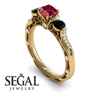 Unique Engagement Ring 14K Yellow Gold Art Deco Victorian Ring Edwardian Ring Ruby With Black Diamond - Elizabeth